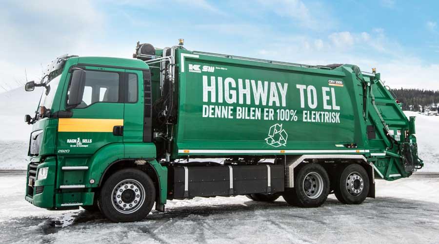 Denne 100% elektriske renovasjonsbilen benyttes til rutegående innsamling i Oslo i dag.